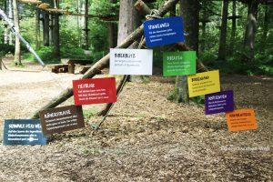 Beschreibung der verschiedenen Parcours im Kletterwald